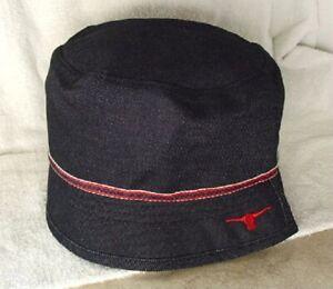 ELWOOD Dark Blue Denim Cotton Womens size 7-7 1/8 S/M Bucket Crusher Hat NEW