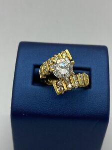 Seta Gold Over Sterling Silver 925 Ring Cubic Zirconia CZ Size 7