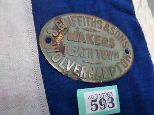 S Griffiths Brass Safe Plaque Wolverhampton