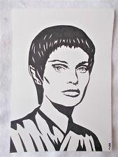 A4 Art Marker Pen Sketch Drawing Jolene Blalock as T'Pol C from Star Trek Poster