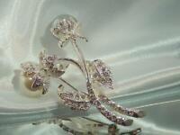 WOW Vintage 80's AVON Signed Sparkling Rhinestone Faux Pearl Flower Brooch 726n0