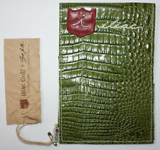iliac Golf Yardage Book Cover Green Leather Italian Croc USA Made PGA TOUR New