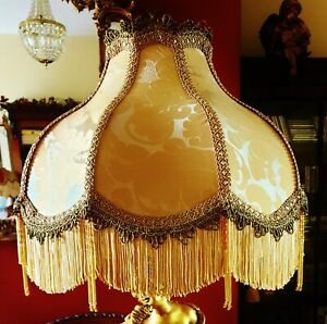 """DRAWING ROOM .VICTORIAN, DOWNTON BEADED LAMPSHADE. OLD GOLD DAMASK 15"""""""