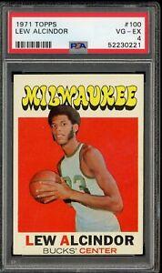 1971 Topps Basketball #100 Lew Alcindor Milwaukee Bucks HOF PSA 4 VG-EX