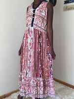 Mixumi ladies print floral dress size S uk 8-10 maxi long summer cotton free