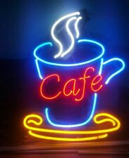 "Neon Light Sign 24""x18"" Coffee Shop Cafe Espresso Open Beer Glass Decor Bar Lamp"