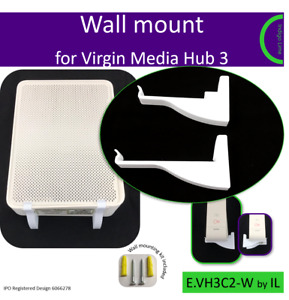 Virgin Media Hub 3 wall mounting bracket. Holder. White. Made in the UK by us
