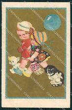 Children Cat Dog Degami serie 2117 postcard cartolina QT6694