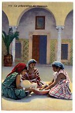 LEHNERT&LANDROCK #712 PREPARING COUSCOUS / FRAUEN IM HAREM * Vintage 1910s PC