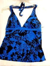 Cazimi Size 6 Swim Halter Swimsuit Top Swimwear NWT Black Blue