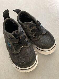 Vans Boys Dark Gray Slip On Shoes Toodler Size 4