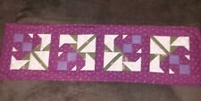 """Handcrafted, Quilted Table Runner, Quilted Table Topper Floral 42"""" X 12.5"""""""