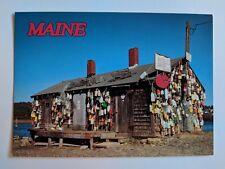 Vintage Maine Russell's Lobster Shack Postcard Buoys Bait Coast Beach Photo