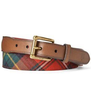 NWT POLO RALPH LAUREN Men's Scottish Wool Tartan Belt Italian Leather Trim Sz 38