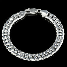 "8 "" 2.5MM PURE 925 ITALY  STERLING SILVER  PATTERN DOUBLE CURB MENS BRACELET"