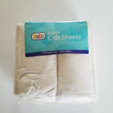 Baby Connection 2 Pack Crib White Fitted Sheet 200 Thread Count 100% Cotton New