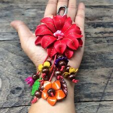 New Red Genuine Leather Keychain KeyRing Handmade Flower Charm Purse Floral Cute