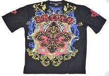 Royal Republic Mens Shirt Large Black Baller Rhinestone Fleur de Lis Cotton
