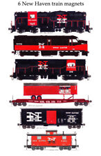 New Haven locomotives, freight cars & Caboose Set of 6 magnets Andy Fletcher