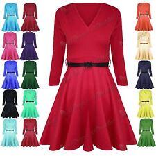 Womens Ladies 3/4 Sleeves Belt V Neck Top Flared Swing Skater Mini Dress UK 8-14