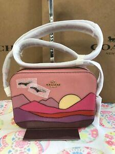 COACH Mini Camera Bag With Mountain Postcard C4561 Im/Light Blush Multi
