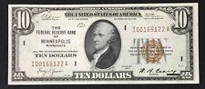 1929 $10 MINN. MN CH-GEM BU FR 1860-I Federal Reserve Bank Note Brown Seal