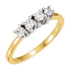 1.12 ct Round Diamond Wedding Band Anniversary 14K Two tone Gold Ring 4 x .28 ct