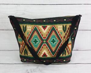 Southwestern Canvas Leather Tapestry Tote Bag Western Aztec Print Carpet Bag