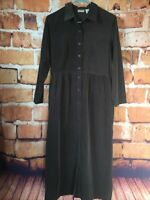 Vtg L.L. Bean Womens 8 Corduroy Brown Shirt Dress Pockets Button Front Modest