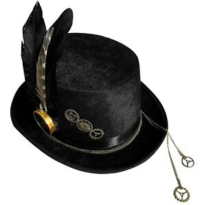 Gears Compass Punk Goth Victorian Steampunk Black Hat Cosplay Custume Hats
