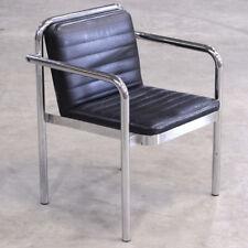 Zoeftig Black Leather & Chrome Luxury Seating - Lounge Waiting Area Airport etc