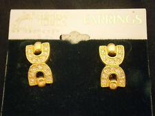 FINISHING TOUCH KENTUCKY DERBY HORSE EQUESTRIAN CLIP EARRINGS GOLD CRYSTALS