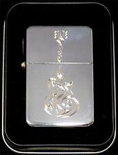 Tribal Guitar Music Engraved Chrome Cigarette Lighter Gift Case Gift LEN-0037