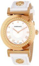 Versace Women's P5Q80D001 S001 Vanity Gold IP Steel White Leather Wristwatch
