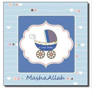 Islamic Mashallah card congratulations baby boy Aqeeqah Mubarak (blank Inside)