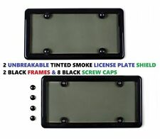 2 Black Frames + 2 UNBREAKABLE Tinted Smoke License Plate Shield For HONDA