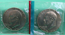 1976 Type 1 P + D Eisenhower Dollar Coins from US Mint Set BU Cellos TWO IKE $1