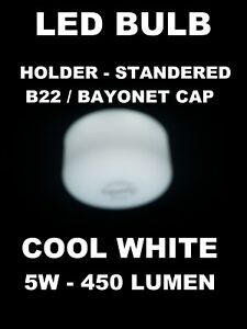10 X Flat LED Bulb GLS B22 Cap Cool White 5W B22 435LM for Home, Office,Shop