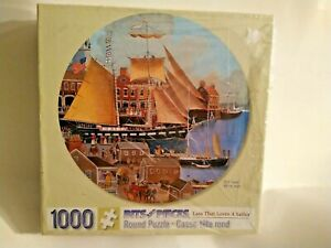 Bits & Pieces LASS THAT LOVES A SAILOR 1000 pc Round Puzzle * New Sealed