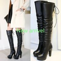 Women Faux Leather Lace UP Round Toe Platform Over Knee High Boots Shoes AU SIZE