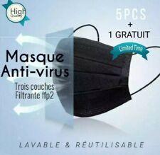Protection respiratoire 3couches ultra filtrantes. Lavable et réutilisable /5PCs