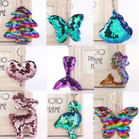 Glitter Sequins Mermaid Heart Keychain Key Ring Bag Car Hanging Decor Gift Party