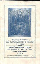 SANTINO COMUNIONE PASQUALE 1932 PARROCCHIA DI CALIZZANO SAVONA 11-22