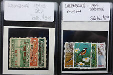 LUXEMBOURG 1994 MINT NH BIRD SET & SEMI-POSTAL B4-6 OVERPRINT ISSUE MINT/HINGED