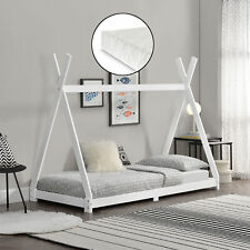 Kinderbett mit Matratze 90x200cm Tipi Indianer Bett Holz Hausbett Kinder Weiß