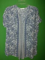 1084) MAX STUDIO small S pullover polyester blouse paisley blue relaxed fit S