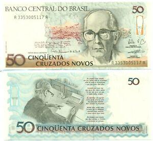 BRAZIL NOTE 50 CRUZADOS NOVOS (1990) P 219b UNC