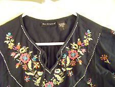 Bay Studios Black Vintage 100% Cotton Embroidered Flowered Jeans Top, $5.25
