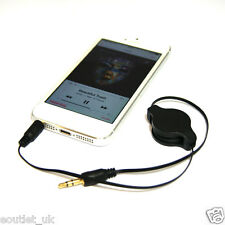Premium Oro 3,5 mm Retraible aux Jack De Audio Lead Cable Para Iphone Ipod Mp3 Nuevo