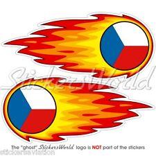 """République tchèque fireball-fire-flaming 125mm (5 """") bumper-helmet Autocollants Stickers x2"""